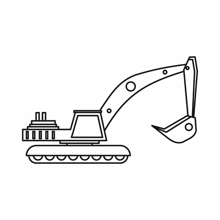 mine site: Excavator icon in outline style on a white background vector illustration