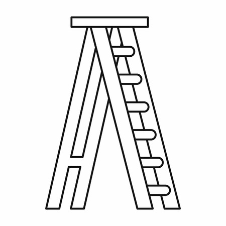 stepladder: Stepladder icon in outline style on a white background vector illustration