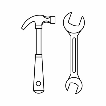 Hammer and wrench icon in outline style on a white background vector illustration
