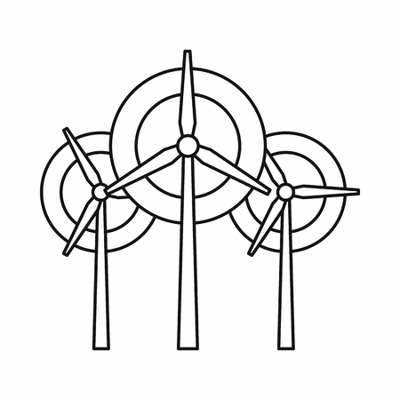 windfarm: Wind generator turbines icon in outline style on a white background vector illustration