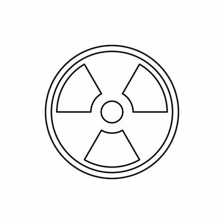 icono de la muestra radiactiva en estilo de contorno sobre un fondo blanco ilustración vectorial