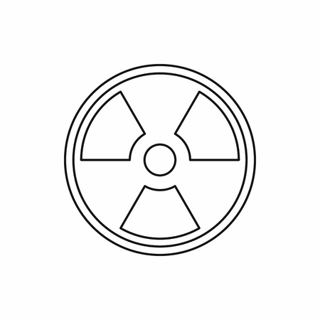nuke plant: Radioactive sign icon in outline style on a white background vector illustration Illustration