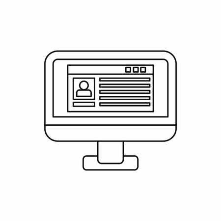 operative: Profile information on a computer monitor icon in outline style on a white background vector illustration