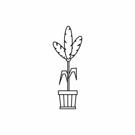 House plant in a pot icon in outline style on a white background vector illustration Illustration