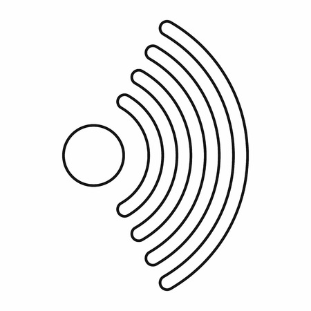 wi: Wireless network symbol icon in outline style on a white background vector illustration Illustration