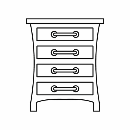 one bedroom: Chest of drawers icon in outline style on a white background vector illustration Illustration