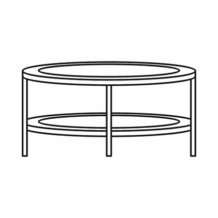 coffee table: Coffee table icon in outline style on a white background vector illustration Illustration