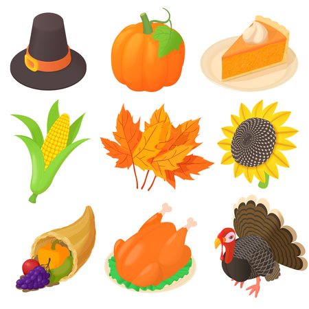 pumpkin pie: Thanksgiving icons set in cartoon style. Autumn elements set collection vector illustration