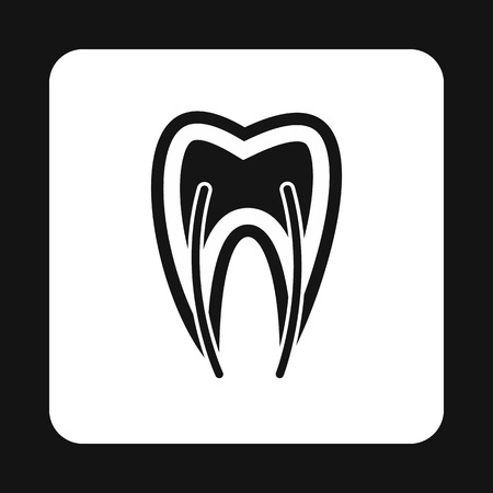 dental pulp: Human tooth cross section icon in simple style isolated on white background vector illustration