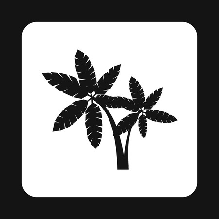 sturdy: Two palm trees icon in simple style isolated on white background vector illustration