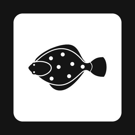 flounder: Flounder icon in simple style isolated on white background. Sea creatures symbol vector illustration