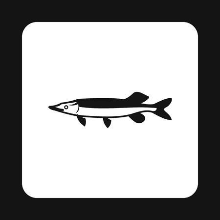 creatures: Pike icon in simple style isolated on white background. Sea creatures symbol vector illustration
