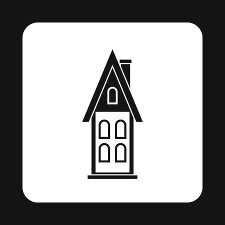 two storey house: Two storey house with attic icon in simple style isolated on white background. Structure symbol vector illustration