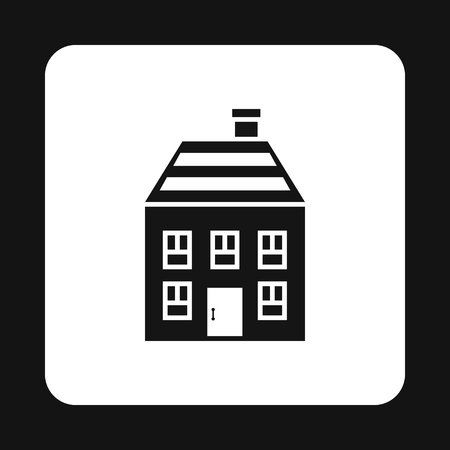 two storey house: Two storey house with chimney icon in simple style isolated on white background. Structure symbol vector illustration