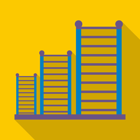 wall bars: Gymnastics wall bars ladder icon in flat style isolated with long shadow vector illustration