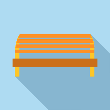 porch chair: Kids playground bench icon in flat style isolated with long shadow vector illustration