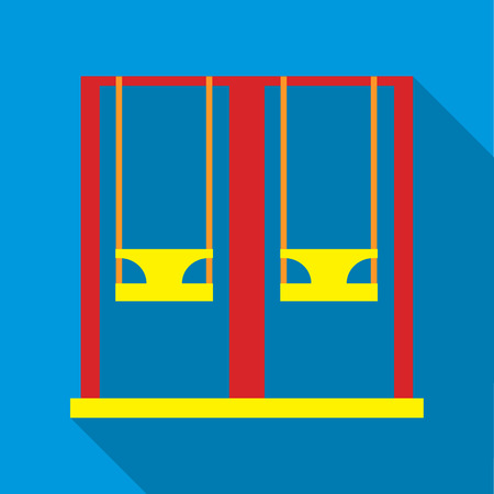 Playground swings icon in flat style isolated with long shadow vector illustration Illustration