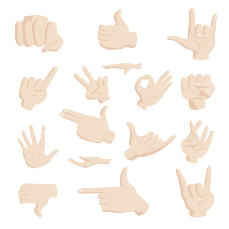 fingers crossed: Hand gesture icons set in cartoon style. Finger language set collection vector illustration