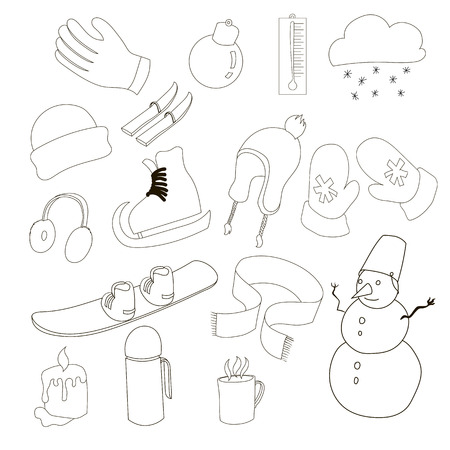 ear muffs: Winter icons set in outline style. Winter clothes and sport equipment set collection vector illustration