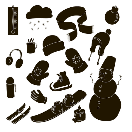 ear muffs: Winter icons set in simple style. Winter clothes and sport equipment set collection vector illustration