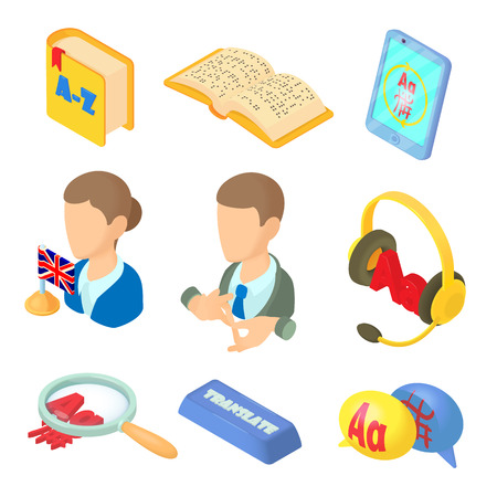 interpreter: Learning foreign languages icons set in cartoon style. Language interpreter set collection vector illustration