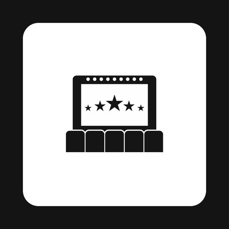 cinema auditorium: Cinema auditorium with screen and seats icon in simple style on a white background vector illustration Illustration