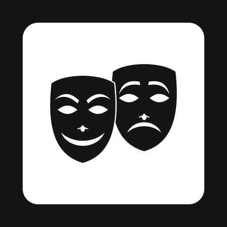 comedy and tragedy masks: Comedy and tragedy theatrical masks icon in simple style on a white background vector illustration