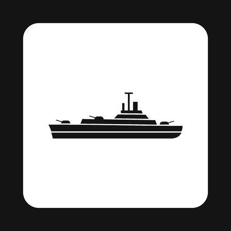 corvette: Military navy ship icon in simple style on a white background vector illustration Illustration
