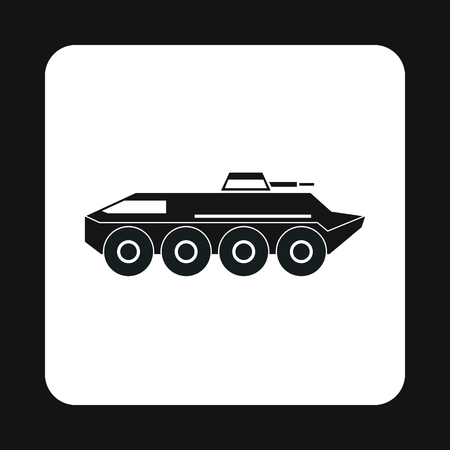 armoured: Armoured troop carrier wheeled icon in simple style on a white background vector illustration