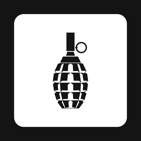 shrapnel: Hand grenade icon in simple style on a white background vector illustration