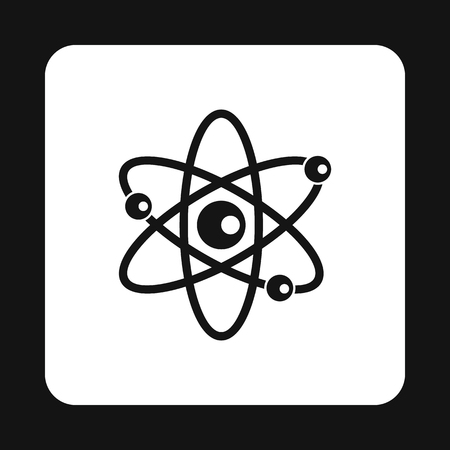 electrons: Atom with electrons icon in simple style on a white background vector illustration Illustration