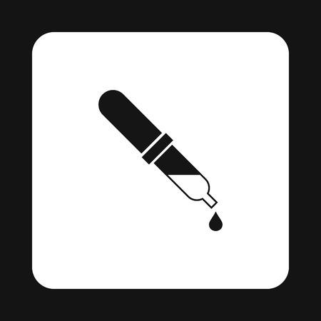 a solution tube: Pipette icon in simple style on a white background vector illustration