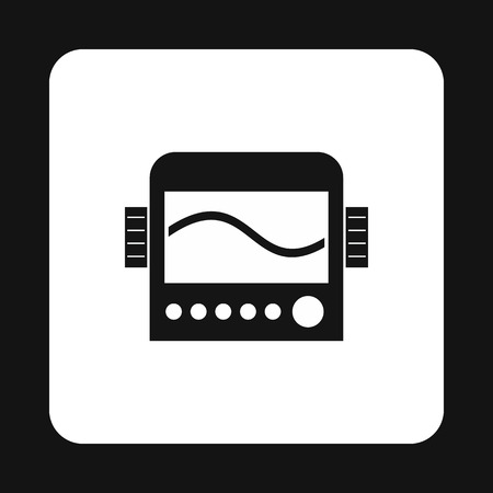 display machine: Display with cardiogram, ecg machine icon in simple style on a white background vector illustration