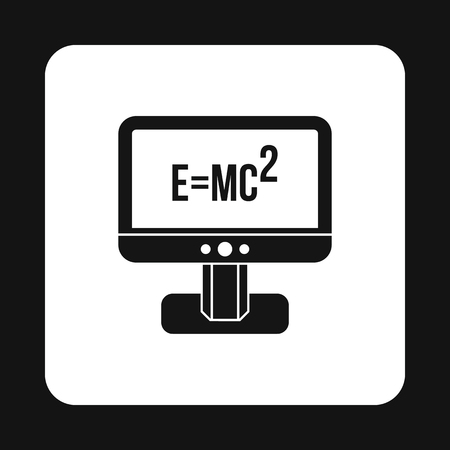 relativity: Computer monitor with the Theory of Relativity formula icon in simple style on a white background vector illustration