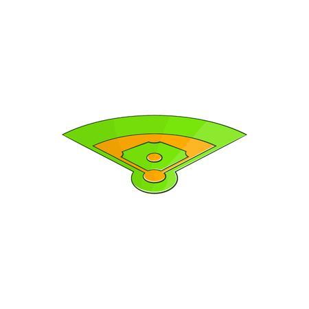 bullpen: Baseball field icon in cartoon style isolated on white background vector illustration Illustration