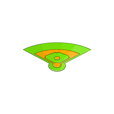 Baseball field icon in cartoon style isolated on white background vector illustration Illustration