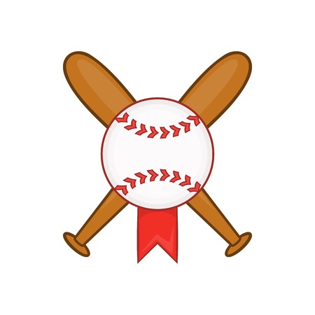 d0254a8e57d  62676435 - Baseball with bats icon in cartoon style isolated on white  background vector illustration
