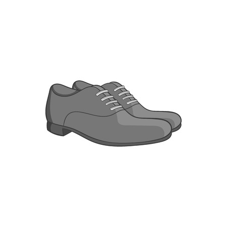 mens clothing: Mens classic shoes icon in black monochrome style isolated on white background. Footwear symbol vector illustration