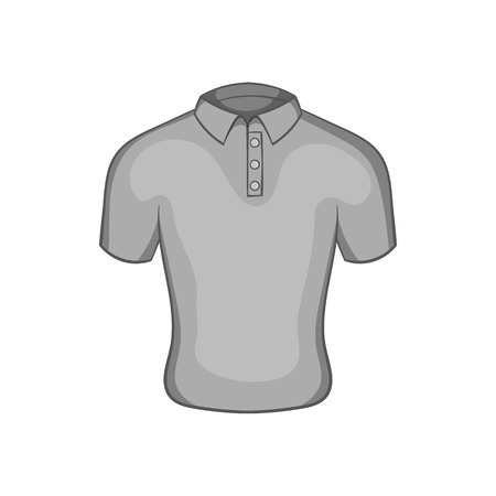 Mens polo icon in black monochrome style isolated on white background. Clothing symbol vector illustration