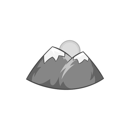 overlook: Mountains and sun icon in black monochrome style isolated on white background. Nature symbol vector illustration