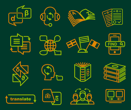 interpreter: Traslation and dictonary icons set in outline style vector illustration Illustration