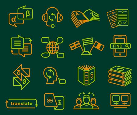翻訳と辞書アイコン スタイル ベクトル図で概要を設定