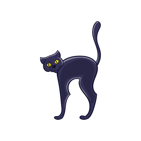 superstitious: Halloween black cat icon in cartoon style isolated on white background vector illustration