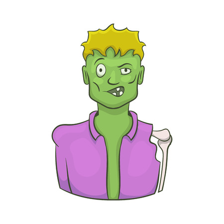 Halloween zombie icon in cartoon style isolated on white background vector illustration