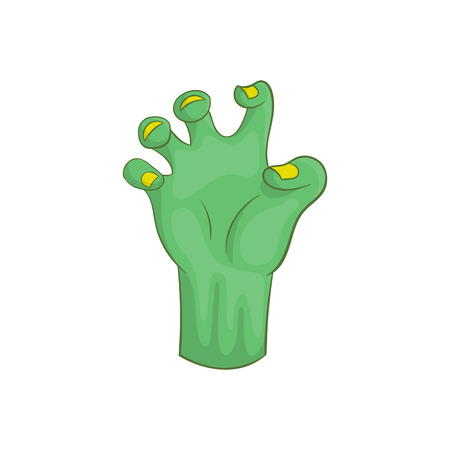 Zombie hand icon in cartoon style isolated on white background vector illustration