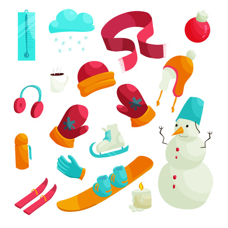 Winter icons set in flat style. Winter clothes and sport equipment set collection vector illustration Illustration