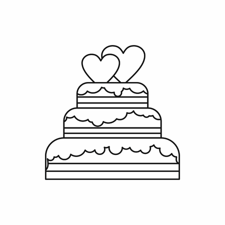 tier: wedding cake icon in outline style isolated on white background vector illustration Illustration