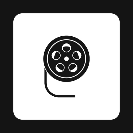 35mm film motion picture camera: Film reel icon in simple style on a white background vector illustration