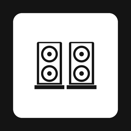 surround system: Two audio speakers icon in simple style on a white background vector illustration