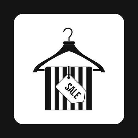 coat hanger: Coat hanger with scarf and sale tag icon in simple style on a white background vector illustration